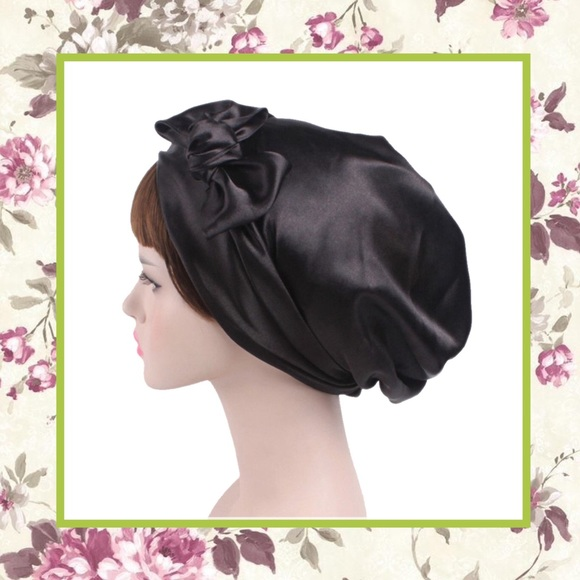 199508b2b1e NEW HEADWRAP TURBAN BLACK SATIN SILK BOW WRAP